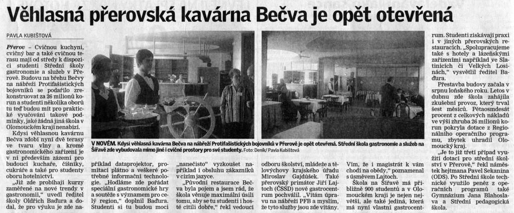 Věhlasná přerovská kavárna Bečva je opět otevřena