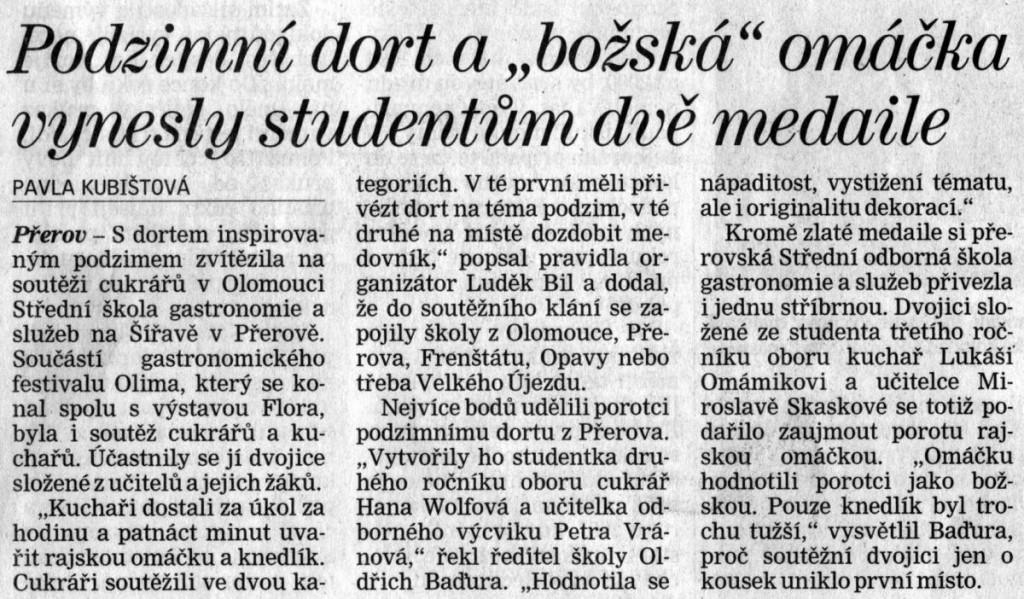 """Podzimní dort a """"božská"""" omáčka vynesly studentům dvě medaile (Deník, 12. 10. 2010)"""