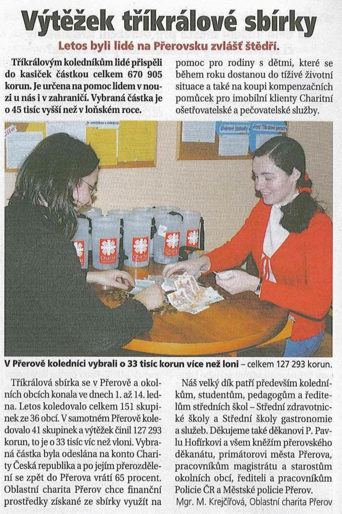 Výtěžek tříkrálové sbírky (Přerovské listy, 2/2011)