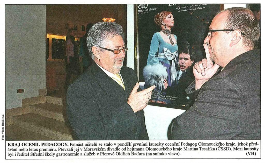 Kraj ocenil pedagogy (Právo, 29. 3. 2011)