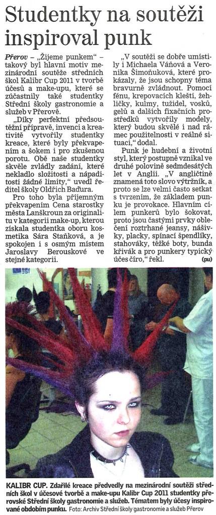 Studentky na souteži inspiroval punk (Deník, 2. 3. 2011)
