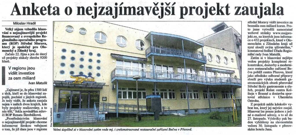 Anketa o nejzajímavější projekt zaujala (Právo, 16. 11. 2011)