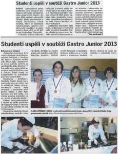 Studenti uspěli v soutěži Gastro Junior 2013 (Nové Přerovsko, 25. 1. 2013)