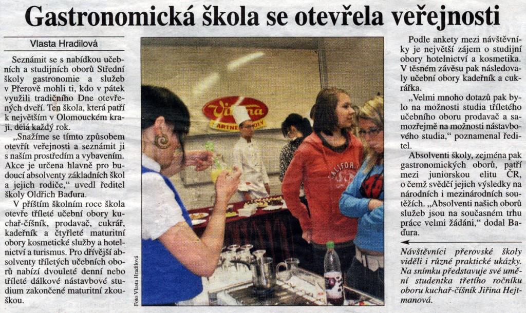 Gastronomická škola se otevřela veřejnosti (Právo, 5. 12. 2009)