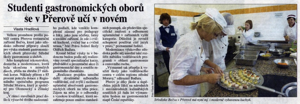 Studenti gastronomických oborů se v Přerově učí v novém (Právo, 11. 10. 2010)