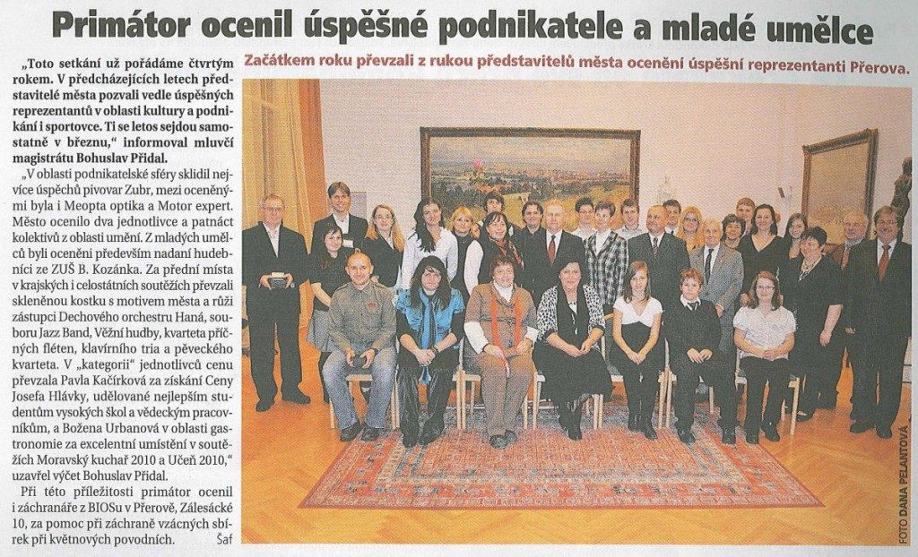 Primátor ocenil úspěšné podnikatele a mladé umělce (Přerovské listy, 2/2011)