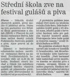 Střední škola zve na festival gulášů a piva (Deník, 20. 11. 2012)